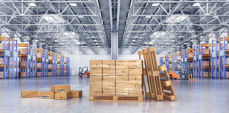 Concept of warehouse. The cardboard boxes on the big warehouse background. 3d illustration