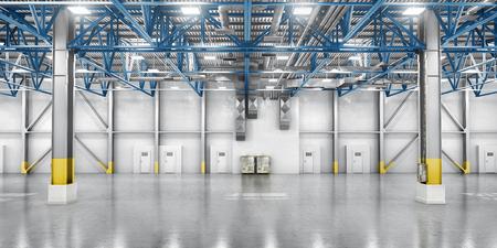 倉庫の概念。大きな倉庫背景に段ボール箱。3 d イラストレーション 写真素材