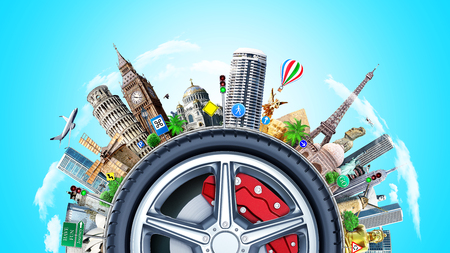 Travel concept. The world attractions around car wheel as concept of road journey. Stock Photo