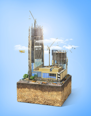 Construction concept. Skyscraper in process of construction on the sliced patch of earth. 3d illustration