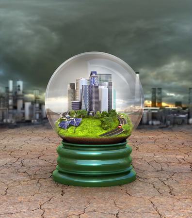 concept of environmental protection. The city is protected by a glass globe from destruction and toxins. 3D illustration Stock Photo