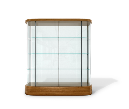 boutique display: Empty glass showcase on a white background. 3D illustration.