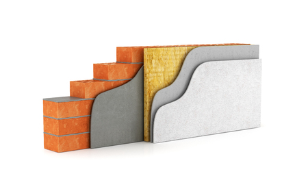 rockwool: Cross-section of a wall. Thermal insulation. 3d illustration