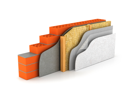 insulation of houses and walls.the scheme in cross section. 3D illustration 스톡 콘텐츠