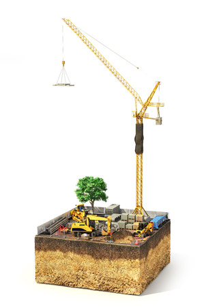 Construction concept. Construction site with construction machinery, materials and tower crane on the piece of ground. 3d illustration