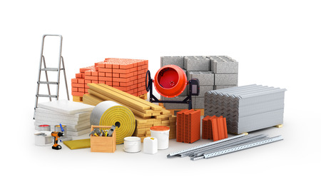 materials for construction. 3D illustration Stok Fotoğraf