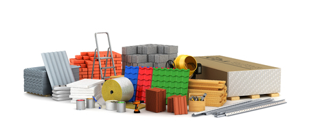 bouwstoffen. 3D illustratie Stockfoto