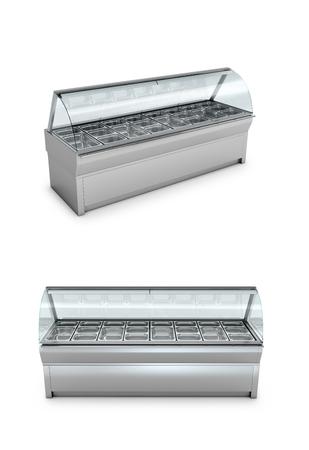 냉동고가 게 또는 흰색 배경에 선반. 3D 그림입니다.