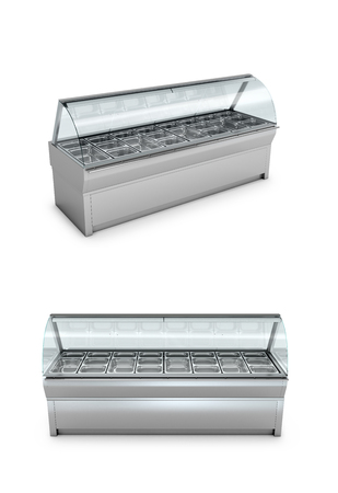 Freezer shop or shelf on a white background. 3D illustration.