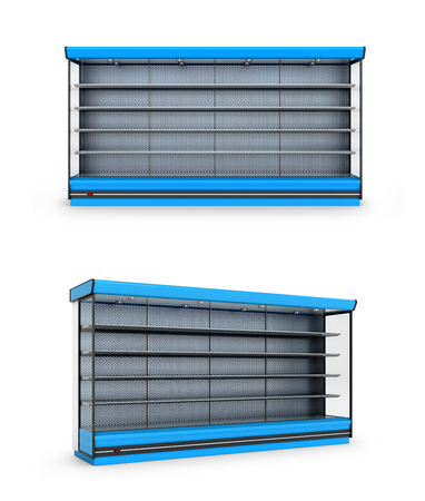 refrigerated: Freezer shop or shelf on a white background. 3D illustration.