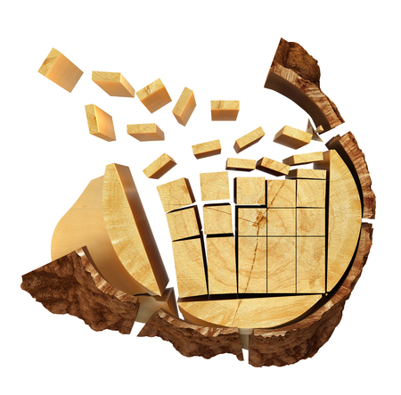 raw materials: Sliced Lumber from the log. 3d illustration Stock Photo