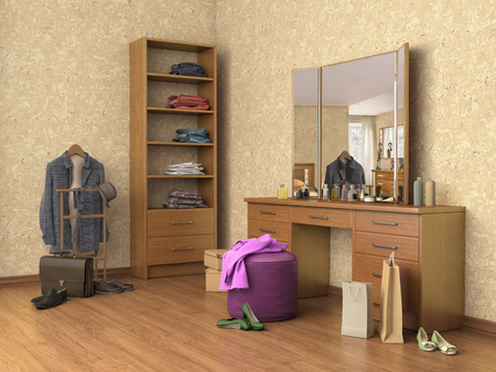 boutique display: room with console mirror, boxes and shoes, shelves, 3d illustration