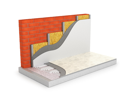 parquet floor layer: concept of a warm home. Underfloor heating and wall insulation. 3D illustration