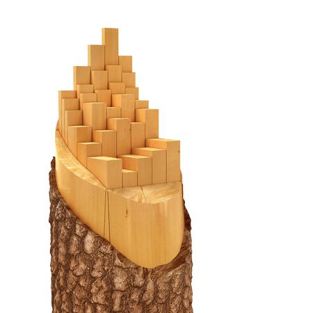 stockpile: Sliced Lumber from the log. 3d illustration Stock Photo