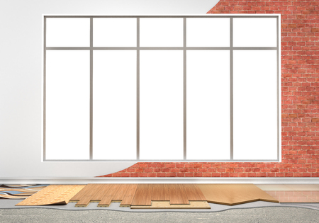 wood floor: Floor types coating. Flooring Installation. Set of pieces of different floor coating. Parquet, laminate, wooden plank, tiles, concrete. 3d illustration
