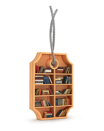 iron: wooden bookcase with books in form of sale label and iron rope, 3d illustration. Book store sale concept Stock Photo