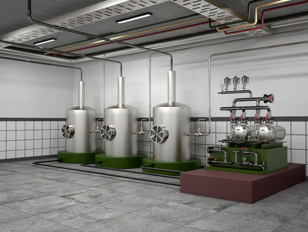 boiler: premises for the distillation vessel and equipment stainless steel machine. 3d illustration