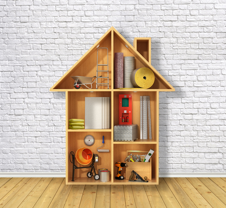 concept of the construction. Building materials and tools in the Dollhouse in front of a white brick wall. 3D illustration