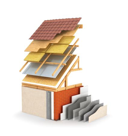 Isolamento esterno e lavori di verniciatura, isolamento del tetto. Illustrazione 3D Archivio Fotografico - 76974864