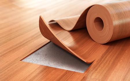 Linoleum coating. Vloerinstallatie. 3d illustratie