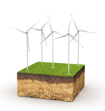 Energy concept. Cross section of ground with a wind electric station. 3d illustration Stock Photo
