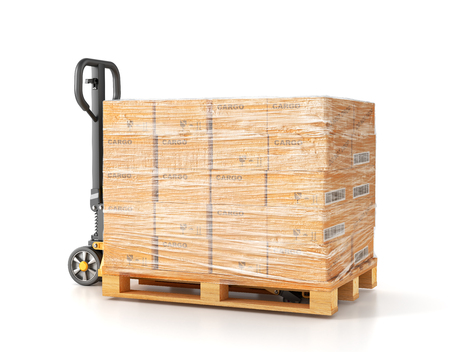 Hand pallet truck. Manual forklift. 3d illustration Stock Photo