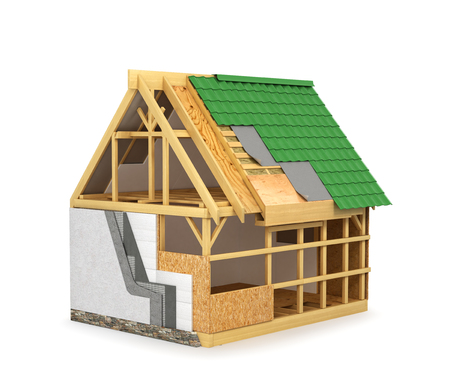 frame construction home. Insulation of walls and roof isolated on white background. 3D illustration Stock Photo