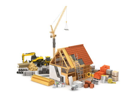 Construction materials, construction of houses of timber frame and its insulation. 3D illustration