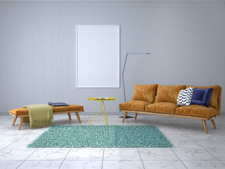 Empty picture on the wall in the modern interior. 3d illustration Stock Photo