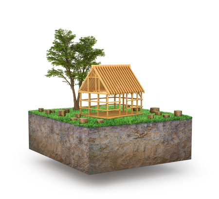 raw materials: concept of preserving the forest. The house is in a clearing where the felled trees. 3D illustration Stock Photo