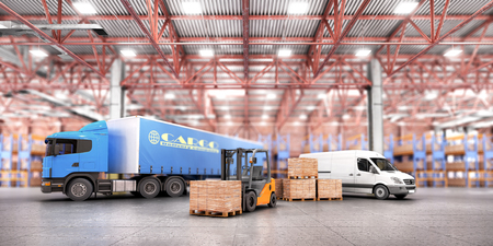 Concept of warehouse. The forklift in the big warehouse on warehouse background. 3d illustration
