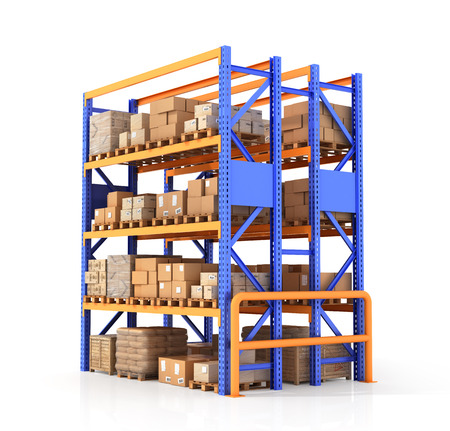 Cardboard boxes on wooden pallet. Delivery concept. 3D illustration illustration isolated on white background Stock Photo