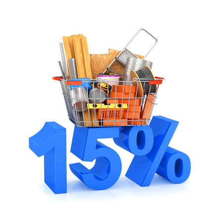 putty knife: Discounts for building materials. Building materials in the shopping basket located at the discounts. 3D illustration