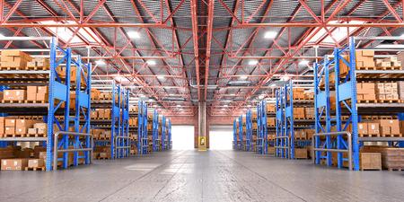 Empty warehouse full of cargo. 3d illustration Foto de archivo