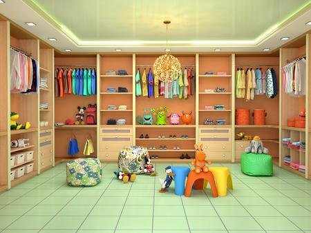Lichte kinder kleedkamer met speelgoed. 3d illustratie
