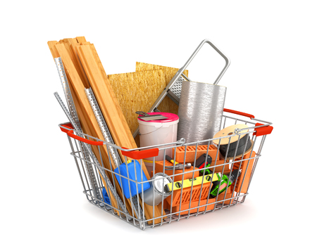 metal mesh: shopping cart filled with building materials. 3D illustration Stock Photo