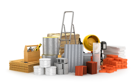 Construction materials, isolated on a white background. 3D illustration Stock Photo
