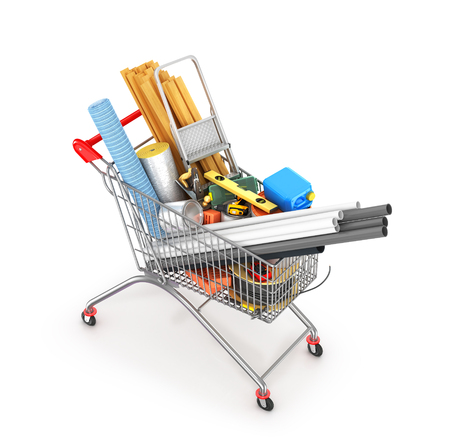 construction tools and materials inside  a shopping cart, isolated on white. 3d illustration