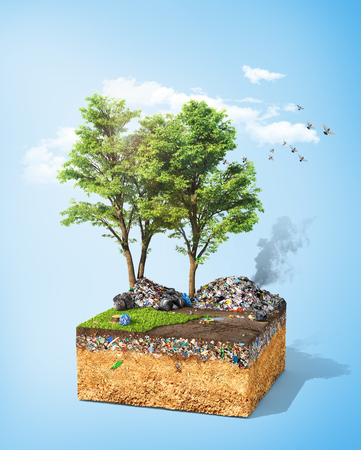 Pollution concept. Piece of ground with tree and green grass full of dirt trash. Ecology. 3d illustration