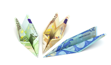 Paper airplanes from the euro on a white background. 3d illustration Stock Photo