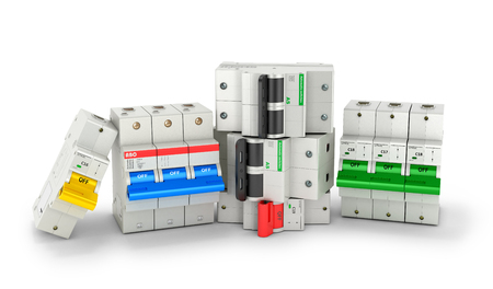Automatic electricity switchers on a white background. 3D illustration Stock Photo