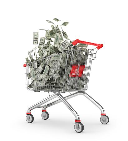 Money Trolley. Shopping cart full of money bills. 3d illustration Stock Photo