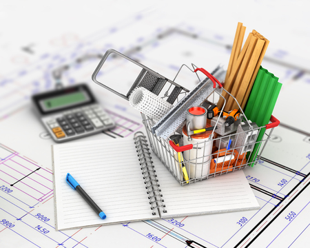 shopping cart with building materials placed near the open empty notebook lying on the drawings. 3d, illustration