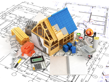 skid: building and construction materials located on top of the drawings. 3D illustration