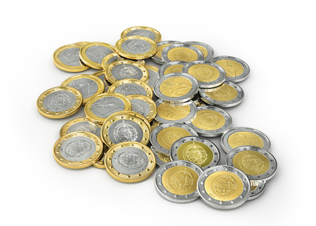 Euro coins isolated on a white background. 3d illustration