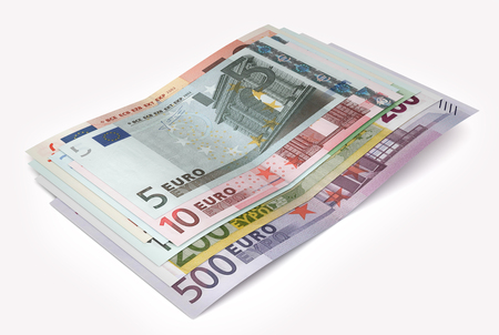 papermoney: Euro banknotes isolated over white with clipping path. 3d illustration
