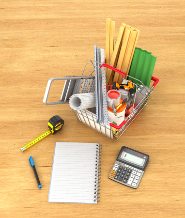 concrete block: Shopping basket full of construction materials and tools near notebook on a wooden background. 3d illustration Stock Photo