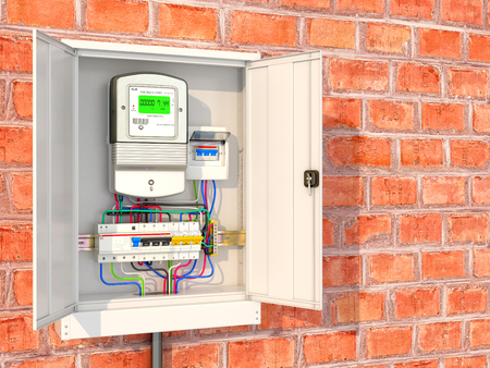 Electric meter with circuit breakers in a metal box. 3D illustration Stock Photo