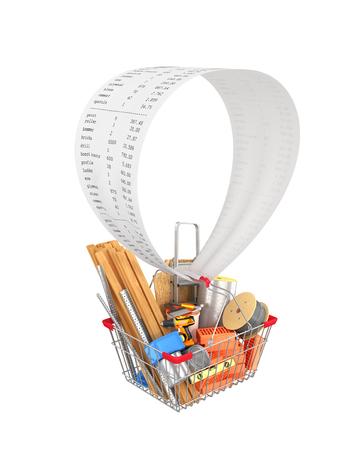 Shopping cart filled with construction materials and tools flying in a balloon in the form of a sales receipt. 3D illustration Stock Photo