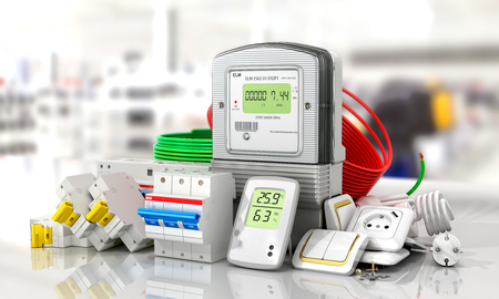 electricity meter: Various electric products on the store shelves. 3d illustration